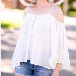 White Boho Angel Sleeve Cold Shoulder Blouse